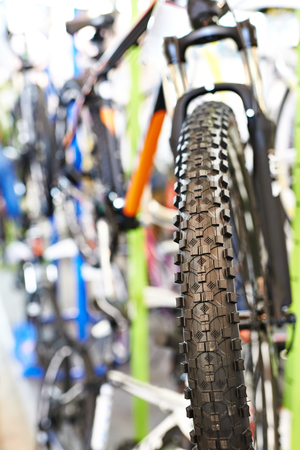 tire tread: Tire tread of the front wheel sports mountain bike