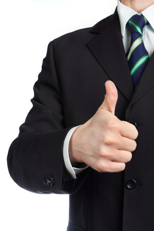 Mans hand with thumb up isolated Stock Photo
