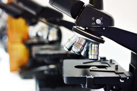 multiplicity: Lenses of different multiplicity of the microscope closeup