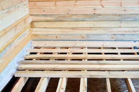wooden joists: Building a house on the floor boards Stock Photo