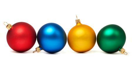 Красочные новогодние шары на белом фоне Фото со стока