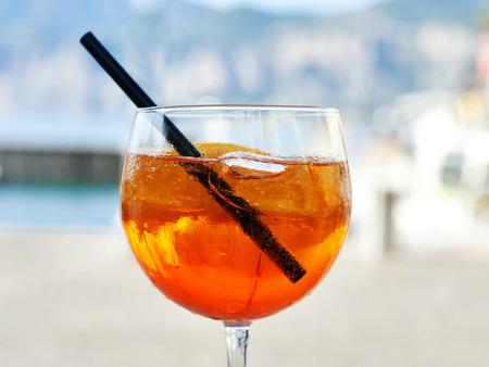 Aperol Spritz with orange slices and ice