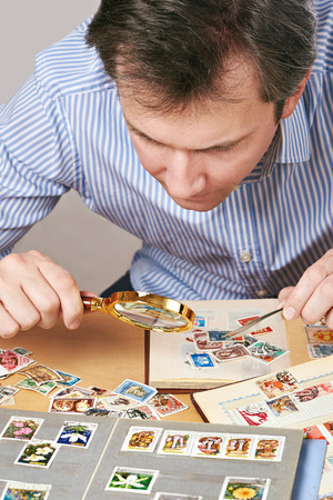 accurately: Man watching a collection of  stamps