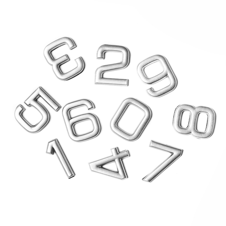 silver: Silver numbers isolated on white background