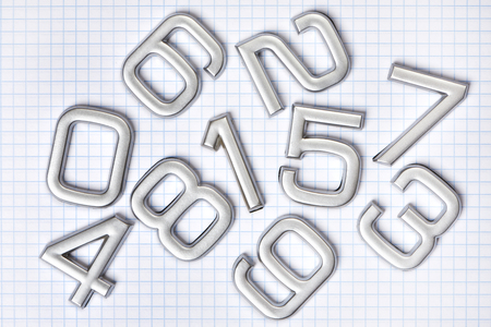 fond de texte: Silver numbers isolated on white background