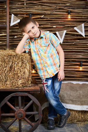 rick: Handsome boy is standing near ancient cart with hay rick in the studio Stock Photo