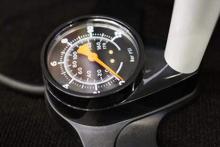manometer: Manometer pump for bike close-up Stock Photo
