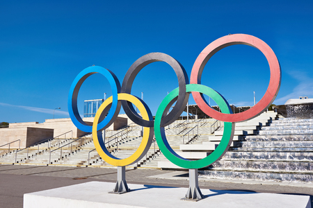 olympic rings: SOCHI, RUSSIA - MARCH 05, 2014: olympic rings near olympic park at Sochi 2014 XXII Olympic Winter Games