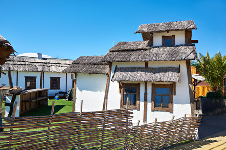 daub: Traditional hut in the Russian village, wattle and daub