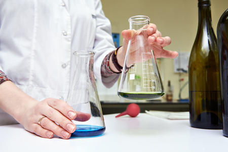 biochemical: Research of wine materials in biochemical laboratory Stock Photo