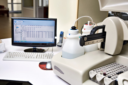 wine industry: Biochemical analyzer and computer in laboratory of wine industry