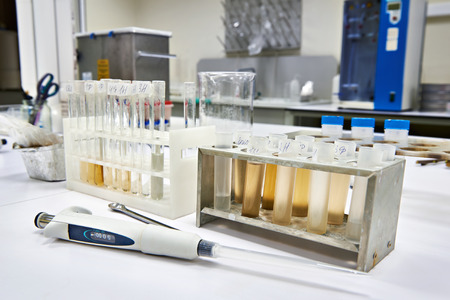 biochemical: Research of biological material in the biochemical laboratory Stock Photo