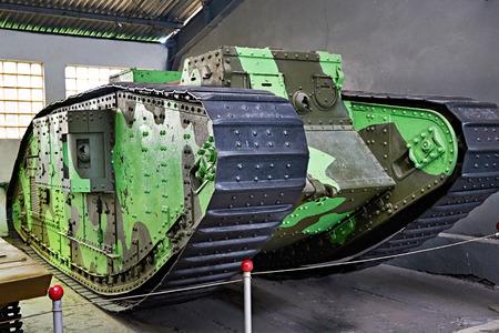 gunfire: British medium tank Mk V 57mm  1918. Isolated white background Editorial
