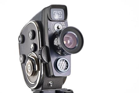 hobbies: Retro mechanical hobbies movie camera isolated white