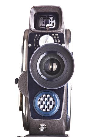 camara de cine: C�mara de pel�cula aficiones mec�nicas retro aislado blanco Foto de archivo