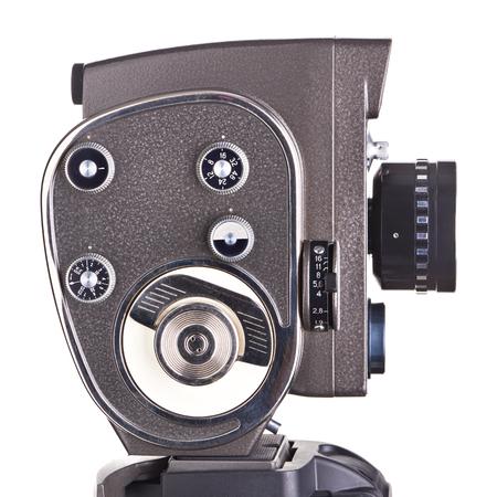 Retro mechanical hobbies movie camera isolated white