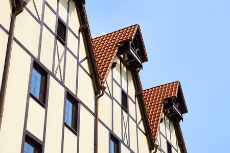 tile cladding: Architecture of the Fishing village. Kaliningrad, Russia