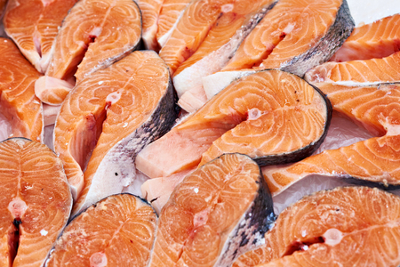 Salmon steak cooled on store shelves Stock Photo
