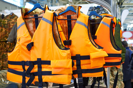 emergency vest: Personal flotation device as a life jacket in store