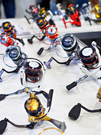 fixed line: Spinning reels in store closeup