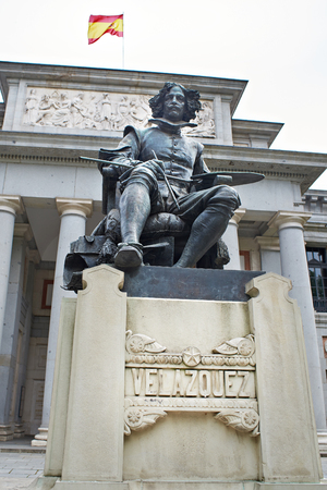 velazquez: Monument to Vel?zquez near the Prada Museum in Madrid Stock Photo