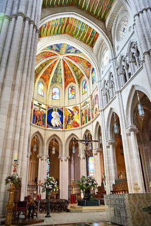 Interior of Almudena Cathedral is Catholic cathedral in Madrid, Spain