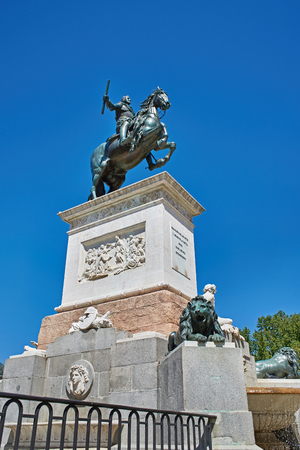iv: Statue of King Philip IV at park in front of Royal Palace - Madrid Stock Photo