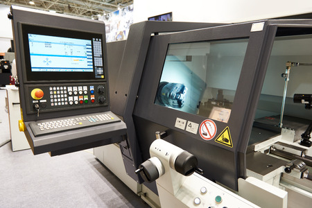 Modern lathe with CNC and workpiece Standard-Bild