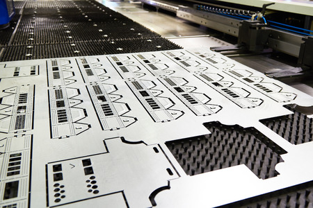 Finished product from Laser cutting metal machine Archivio Fotografico
