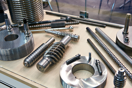 Processed metal parts for industry Foto de archivo
