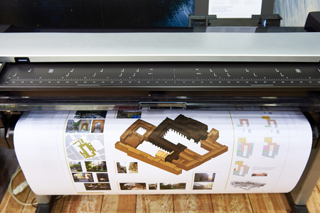 Large format printing on a color plotter Stock Photo