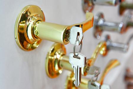 Door handle with key closeup