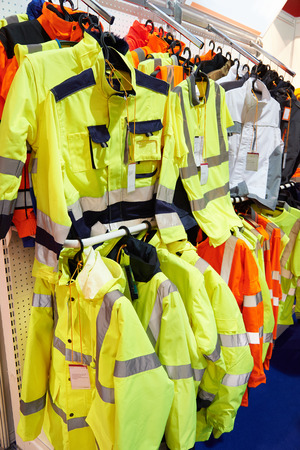 hangers: Sale of working clothes for builders and street workers in the store