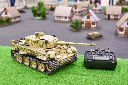 Model of the German tank Tiger on the radio control with a remote control