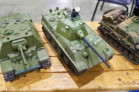 Models of the tanks on the radio control