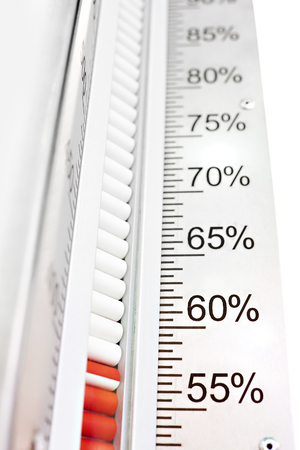 hygrometer: Humidity measuring device in percent Stock Photo