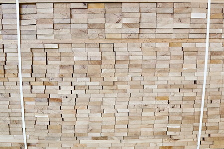 Pallet with wooden boards for construction