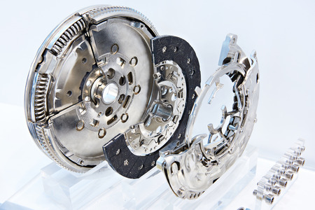 Clutch system with dual mass flywheel, pressure plate and concentric slave cylinder