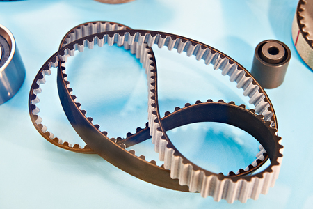 Timing belt for the cars motor in the store on the counterм Stock Photo