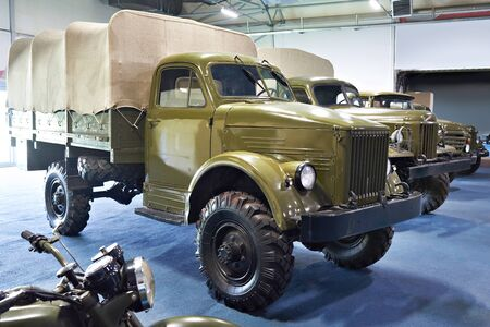 Old military russian trucks in museum