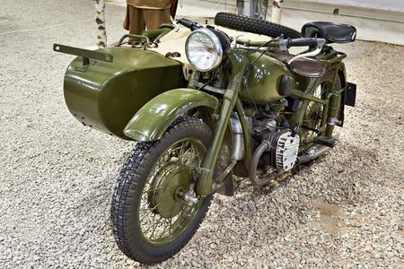 KUBINKA, RUSSIA - JUL 11, 2017: Military-technical museum. Soviet heavy military motorcycle IMZ M-72 Stock Photo