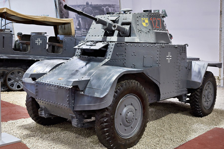 KUBINKA, RUSSIA - JUL 11, 2017: Military-technical museum. French armoured car Panhard 178 AMD-35 in the German army of the Wehrmacht Редакционное