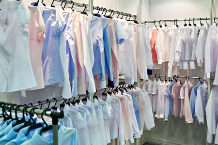 Womens blouses and shirts on the hanger in the store
