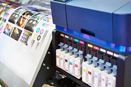 Ink in cartridges and plotter Archivio Fotografico