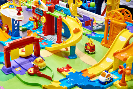 Toy city with blocks of plastic constructor