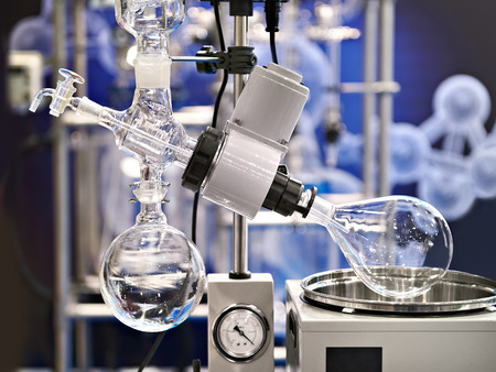 Laboratory rotary evaporator with a flask for chemistry