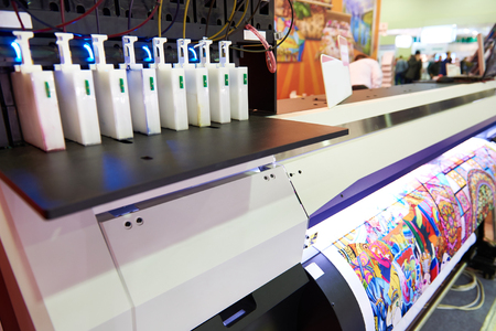 Cartridges with ink at the plotter