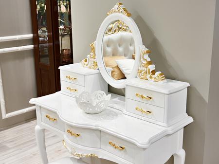 Vintage white gold interior dressing table
