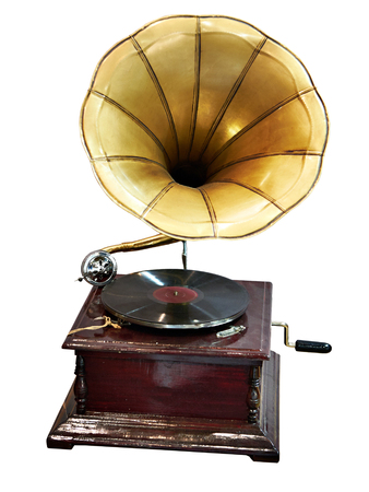 Vintage antique gramophone with a phonograph record isolated Stockfoto