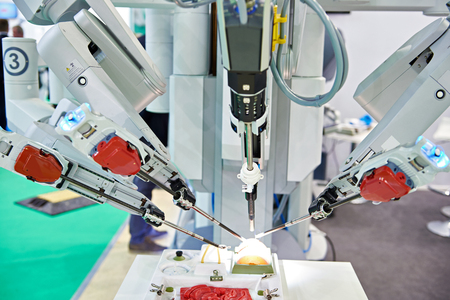 Robotic surgical system on a test medical stand